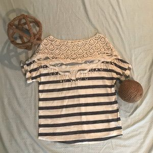 Tops - Navy and white lace shoulder top size small
